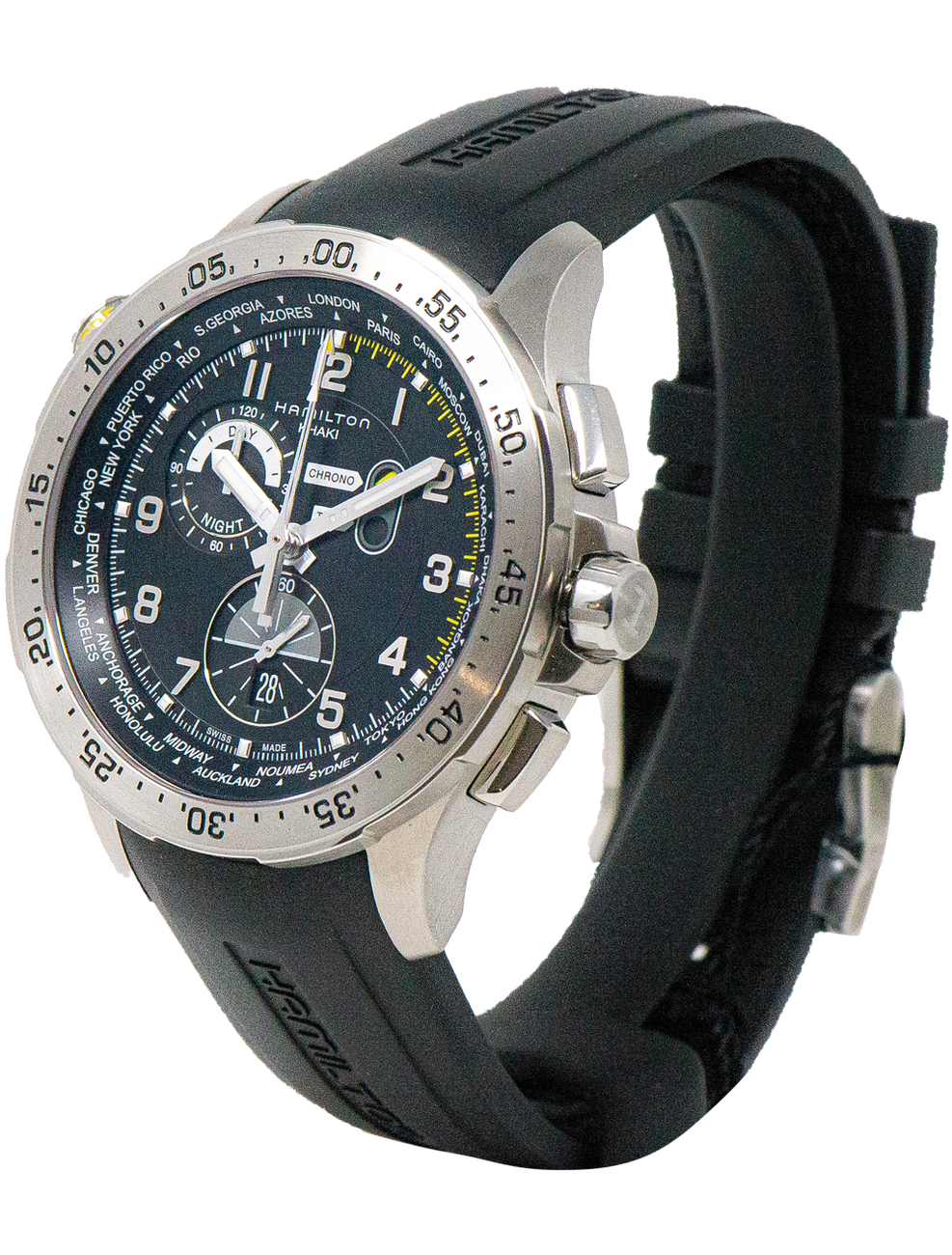 HAMILTON KHAKI AVIATION WORLDTIMER CHRONO QUARTZ H76714335